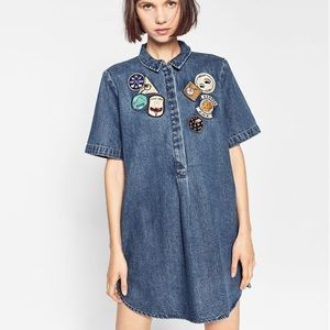 ZARA • trafaluc denim patchwork camping dress